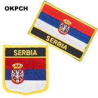 Бесплатная доставка сербия флаг вышивка утюг на патч 2 шт. За комплект PT0152-2