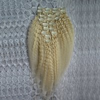Grob Yaki Clip in Extensions 10pcs / set blondes Haar 120g verworrene gerade Clips in den brasilianischen menschlichen Haarverlängerungen vollen Kopf