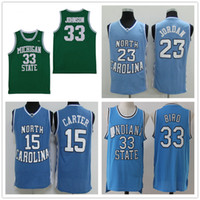 NCAA North Carolina Tar Heels 15 Carter 23 Michael Michigan State Spartans Earvin Johnson 33 Larry Bird Camisetas de baloncesto College Stitched