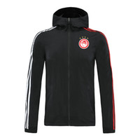 Windbreaker fermuar 2020 olympiakos futbol Kapşonlu ceket ceketler Koşu futbol WINDBREAKER ceket Üst fermuar hoodie Spor mens