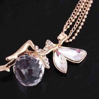 Engelsflügel Halsketten Mode Frauen Schmuck Kristall Gold Farbe Lange Kette Halskette Schmetterling Fee Halskette