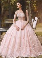 Robe de Novia 2019 Pays Rose fard à joues dentelle robe de bal robe de mariée manches longues col bateau Flora 3D Princesse Robes de mariée Dubaï arabe