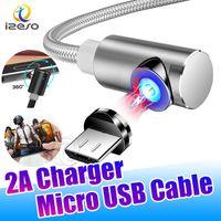 2A Magnetkabel L Form Ellenbogen Magnet Schnelle Ladegerät Kordellinie Nylon Geflochtene Micro USB Typ C Kabel Draht für Samsung Huawei Izeso