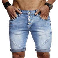 Fermuar Katı Renk Manşetleri ağartılmış Mens ile Jeans Yaz Vintage Diz Boyu Erkek Tasarımcı Kısa Jeans İnce Erkek Denim Kısa Pantolon