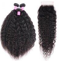 Saçın freetress süper insan saça dantel kapatma 4x4 Perulu bakire saç örgü ile 3 demetleri wave