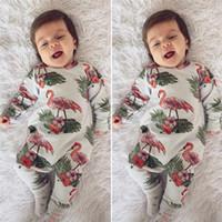 اعتصامات الطفل فلامنغو المطبوعة حللا طويلة الأكمام القطن الطفل قطعة واحدة الوليد الرضع رومبير الخريف الشتاء الاطفال الفتيان الفتيات الملابس C82605