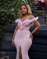 2019 Blush rosa del hombro de la sirena Prom Drses alta elegante lateral abierto de la envoltura Vestido de noche largo del partido vestidos formales Brideamaid