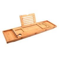 Einstellbare Badewanne Tray Badewanne Caddy Tray Multifunktionale Bamboo Badezimmer Organizer mit erweiterbaren Sides Halter für Buch Glass