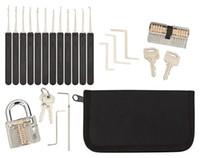 Lockpicking مجموعة قفل اختيار أدوات 17 قطعة كيت 2 واضح أقفال في 2 الصعوبات لمزاولة التدريب والأقفال المهنية