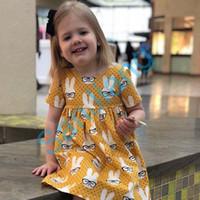 아기 점 만화 토끼 드레스 부활절 토끼 스커트 소녀 공주 드레스 1-6Y 어린이 E3803 귀여운 스커트 어린이 스커트 여름 드레스 의류