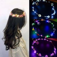 Flower Crown Wedding Party Garland Glowing LED Headband Natal Luz Neon Wreath decoração luminosa Cabelo Guirlandas Hairband