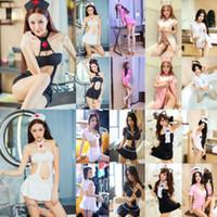 Nueva sólido Cosplay Sexy Spandex Set conjunto de lencería Lote erótico atractivo de la ropa interior dormir Set verano