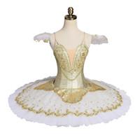 Yetişkin Profesyonel Bale Tutu Kostüm Altın Balerin Gözleme Tutu Etek Raymonda Kadınlar Performans Klasik Bale Sahne Kostüm Elbise