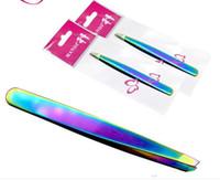 Las nuevas herramientas de cejas diagonales de acero inoxidable de color titanio accesorios de maquillaje belleza niñas cejas envío gratis