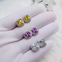Vecalon Sparkling lovers earring cushion cut Dianond 925 Ste...
