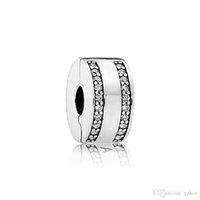 Classic 925 gioielli in argento, accessori clip di marchio della scatola originale per Pandora Bracciale fai da te diamante di cristallo CZ clip