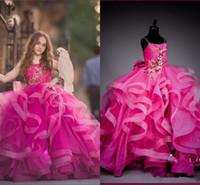 Fuchsia Ball Prange Princess Girl's Pageant Transe 2019 Spaghetti ruffles evilated юбка кружева органза Литтл девчонки младенческий детский день рождения платье