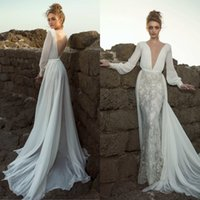 2019 Long Sleeve Mermaid Wedding Dresses Dany Mizrachi Deep ...