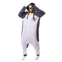 새로운 성인 동물 회색 펭귄 잠옷 만화 양털 Kigurumi Onesies 의상 점프 슈트 여성을위한 크리스마스 선물 남자