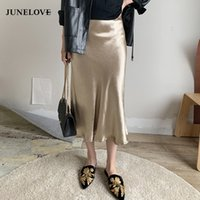 Junelove Women Summer Glossy Satin Tromba Gonne Vita alta Gonna argento oro Midi Gonna Metallic Color Party Gonne Bottoms Y19043002