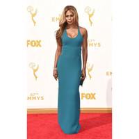 Vestidos de pista Treal Celebrity Laverne Cox Red Carpet 67th Emmy Awards Sexy Party Gown Forched Celebrity-inspirado