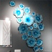 새로운 디자인 무라노 유리 교수형 벽 아트 데일 치마 스타일 붕 규산염 유리 아트 손 날 려 푸른 유리 꽃 벽 램프