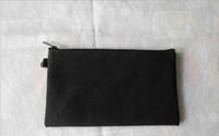 * 11cm 19,5 50pcs coton noir sacs en toile cosmétiques femmes bricolage maquillage sac à glissière simple blanc sac d'embrayage de téléphone cadeau organisateur affaires