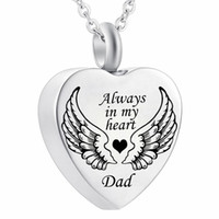 Angel Wing Always in My Heart Cremation Urn Ash Jewelry Keep...