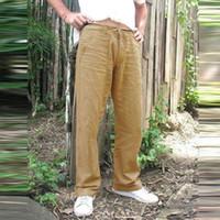 Pantalones ocasionales de los hombres de la vendimia de lino bolsillos recto flojo de la yoga de las bragas de la playa Gimnasio cordón Pantalones holgados Soild color más tamaño