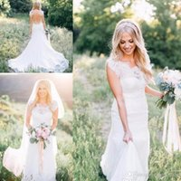 Country Western Wedding Dresses Mermaid Lace Cap Sleeve Illu...