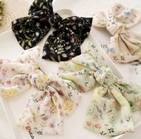 Девушки шифон банты шпильки свежий стиль дети цветочные печатные кружева-вверх банты зажим для волос дети принцесса заколки женщины аксессуары для волос F9083