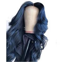 13X6 깊은 파트 블루 컬러 레이스 프런트가 인간의 머리 가발 느슨한 웨이브 전체 레이스 정면 블랙 여성 Preplucked 360 롤빵을 만들 수