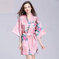 e1e1c76bb4 12 Colors bathrobe Sleeping gown S-XXL Women s Japanese Silk Kimono Robe  Pajamas Nightdress Sleepwear floral Underwear VVA454