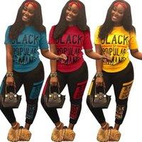 Kadın Eşofman 3 Renkler Siyah Akıllı Mektup Baskılı T-shirt Pantolon 2 adet / takım Yaz Moda Spor Kıyafet Giyim Seti OOA6819