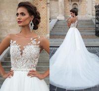 Винтаж 2020 Sheer шеи аппликации кружева свадебные платья с длинным поясом полые пуговицы назад тюль оболочка свадебные платья на заказ Vestido De Novia