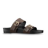 Damen Herren Designer Maultiere Schieber Luxus-Leder-Low Mule Bom Dia goldene Schnalle zwei Riemen Sandale Sommer-Flipflops 35-46