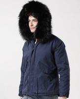 Vendita calda Meifeng marchio nero coniglio fodera in pelliccia lungo blu navy mini parka con pelliccia di procione nero trim oversize uomo giacche da neve
