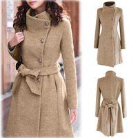 2020 femmes hiver laine trench-coat Lapel veste à manches longues Pardessus Outwear Abrigos Mujer Invierno 2018 Coat Camel Plus Size