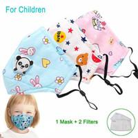 Niños Panda algodón máscara con 2 filtros y máscaras PM2.5 lindo niños Anti-polvo lavable fiesta al aire libre Impreso Oso respirador para Niños Niñas