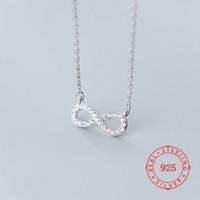 Collier à chaîne en argent sterling 925 avec pendentif Infinity Pendentif à la mode Simple sans fin Endless Collier Bohemain Style Bijoux