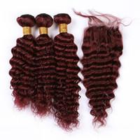 Malaisie vague profonde # 99J Bourgogne Tissages cheveux humains 3 Bundles avec fermeture Vin rouge profond onduleux Vierge cheveux dentelle fermeture 4x4 avec Bundles