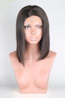 Combs ile Dantel Açık Peruk İnsan Saç Bob Peruk Düz Dantel Peruk Remy Saç% 150 Yoğunluk Orta Kısım Doğal Renk Orta Cap Bella Saç