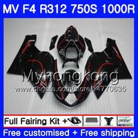 Carrocería para MV Agusta F4 R312 750S 1000 R 750 1000CC 05 06 Línea roja kit negro 320HM.4 1000R 312 1078 1 + 1 MA MV F4 05 06 2005 2006 Carenado