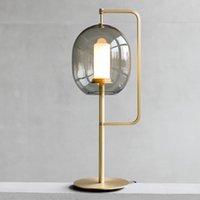 포스트 - 현대 노르딕 디자인 유리 랜턴 테이블 램프 모델 룸 침실 생활 연구 침대 옆 럭셔리 데스크 조명기구