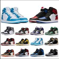 Nueva fashion1 calidad superior OG del dedo del pie Bred Chicago prohibido Zapatos Juego Real baloncesto de los hombres 1s Top 3 Shattered tablero trasero de la sombra multicolor de las zapatillas de deporte
