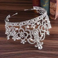 Kopfhaare Brautkrone Europäische und amerikanische Barock-Geburtstags-Prinzessin Haarschmuck Braut Kristallperlenrhinestone Hochzeitszubehör 1-stück viel