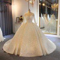 Köpüklü Balo Gelinlik Sheer Jewel Boyun Aplike Sequins Uzun Kollu Dantel Gelinlikler Custom Made Abiti Da Sposa