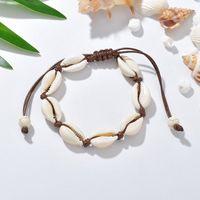 Bracciale conchiglia Cowrie Bracciale conchiglia Maglia fatta a mano Corda regolabile Braccialetti Accessori donna Bracciale con perline Bracciale Gioielli da spiaggia