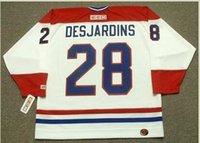 Пользовательские мужчины молодежь женщины Vintage #28 ERIC DESJARDINS Montreal Canadiens 1993 CCM хоккейная Майка размер S-5XL или обычай любое имя или номер