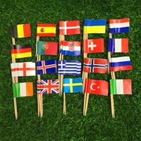 Country Flag Picks Toothpicks Cake Nation Stuzzicadenti Bastoncini usa e getta in legno Bastoncini per cocktail di frutta